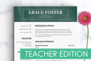 Teacher resume template resume templates creative market teacher resume template teacher cv altavistaventures Images