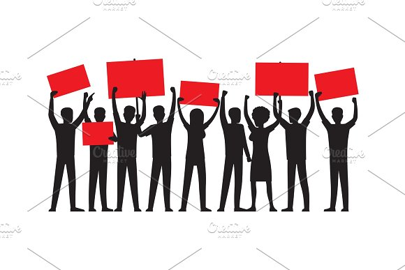 Group of People with Red Placards Silhouettes