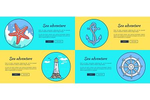 Sea Adventure Template Colorful Vector Web Banner