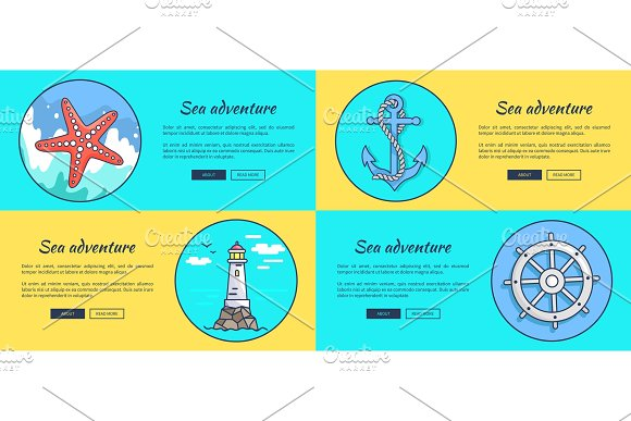 Sea Adventure Template Colorful Vector Web Banner