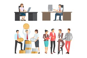 People at Work Collection of Cartoon Illustrations