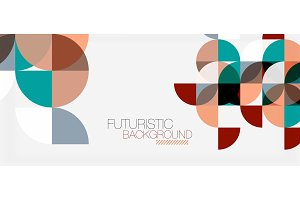 Geometric triangle and circle shape, wide abstract background