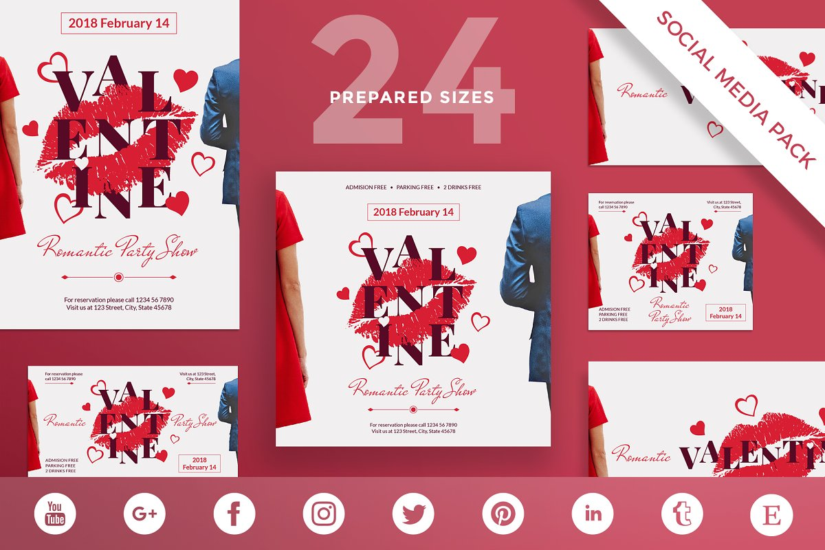 Social Media Pack | Valentine's Day in Social Media Templates - product preview 8