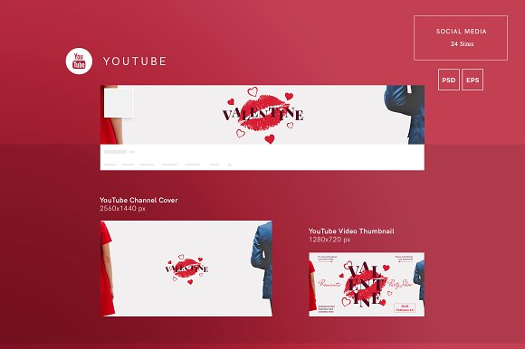 Social Media Pack | Valentine's Day in Social Media Templates - product preview 1