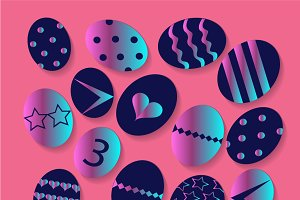 Easter eggs pink color, png file