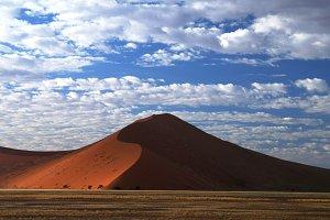 Deep shadows on Sossusvlei dunes at sunrise, Namib desert