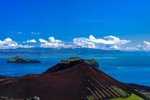 Panorama Eldfell volcano in Heimaey island, Vestmannaeyjar archipelago Iceland