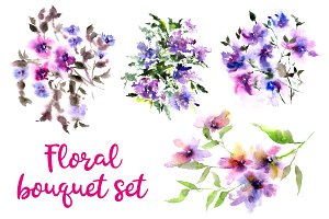 Watercolor flowers set.