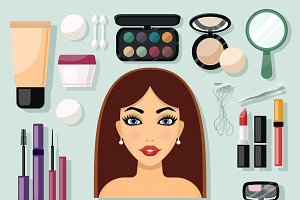 Make-up flat icons set