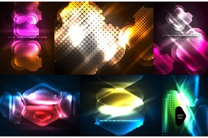Set of neon glowing geometric shapes, digital abstract backgrounds