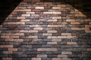 Brick texture background with light
