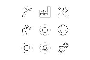 Manufacturing outline icons