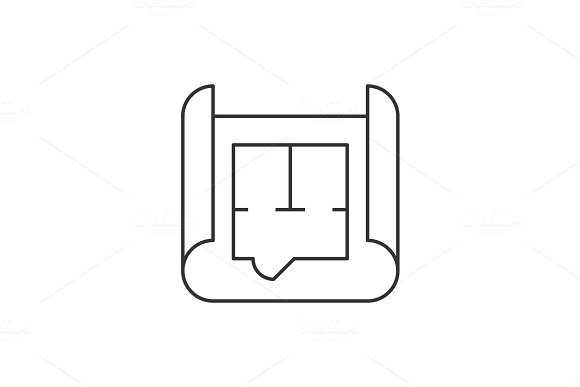 Blueprint roll outline icon