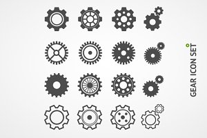 Vector gear icon set. Flat