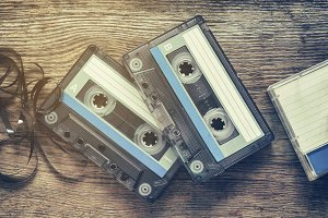 Two vintage audio cassette tapes