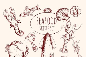 Seafood sketch set