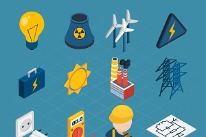 Electricity isometric icons set