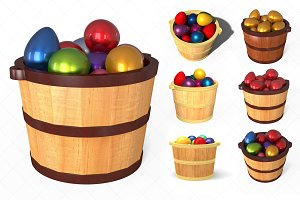 Wooden bucket with easter eggs - 3D
