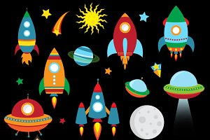 Outer Space Rockets Clipart