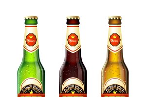 Realistic beer bottles set