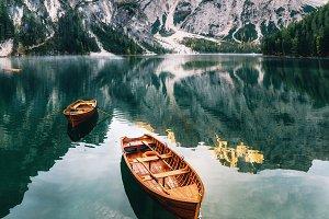 Braies lake in Dolomites, Italy