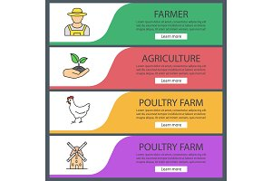 Agriculture web banner templates set