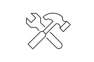 Wrench crosses hammer