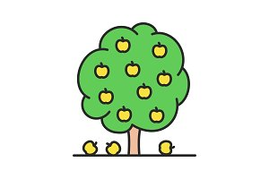 Fruit tree color icon