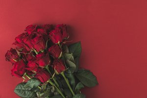 bouquet of red roses with green leav