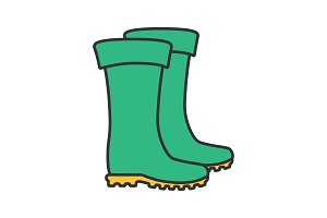 Rubber boots color icon