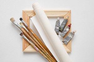 Stretcher bar, canvas, brushes.