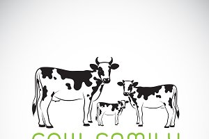 Vector of cows family. Farm. Animal.