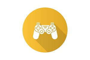 Gamepad flat design long shadow glyph icon