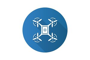 Quadrocopter top view flat design long shadow glyph icon