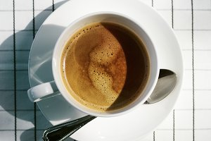 Closeup of a hot drink on a table