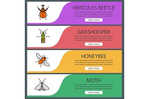 Insects web banner templates set