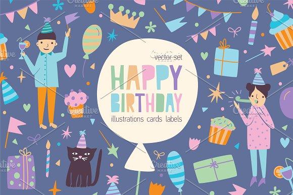 Happy Birthday Cards Bundle Illustrations Creative Market
