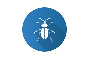 Ground beetle flat design long shadow glyph icon