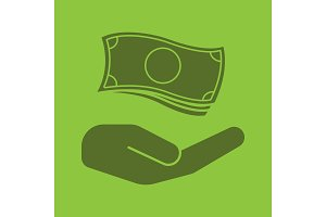 Open hand with money glyph color icon