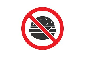 Forbidden sign with burger glyph icon