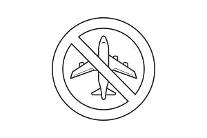 Forbidden sign with airplane linear icon