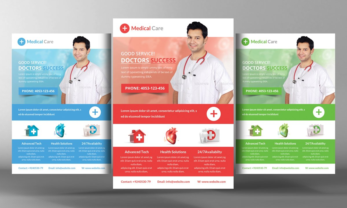 medical care flyer template flyer templates creative market
