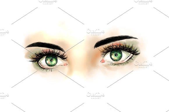 Set with eyes. Fashion illustration