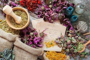 Healing herbs in hessian bags