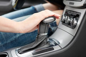 Hand on automatic gear shift