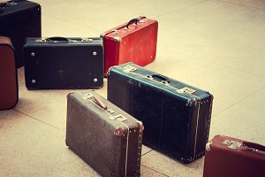 Group of vintage suitcases