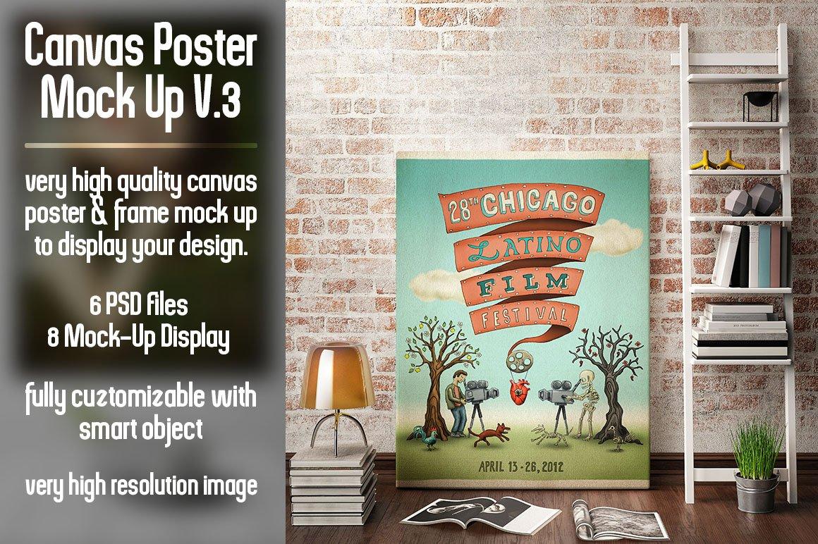 canvas poster mock up v3 product mockups creative market