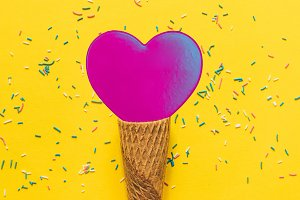 Pink heart on ice cream cone