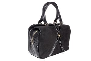 women's suede bag of black color