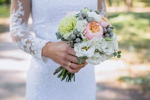 Boquet of flowers in bride hand